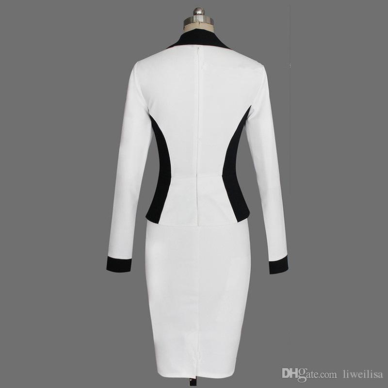2018 Lady Illusion Patchwork Gaine Boutons A Volants Volants Femmes Bodycon Bandage Dress Brève Affaires Crayon Féminin Dresess