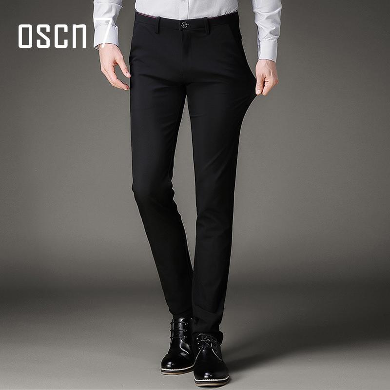ae16452343a2 OSCN7 Schwarz Stretch Herren Kleid Hosen 2017 Sommer Slim Freizeit Pantalon  Homme Classique Herren Hosen Formale Plus Größe Anzug