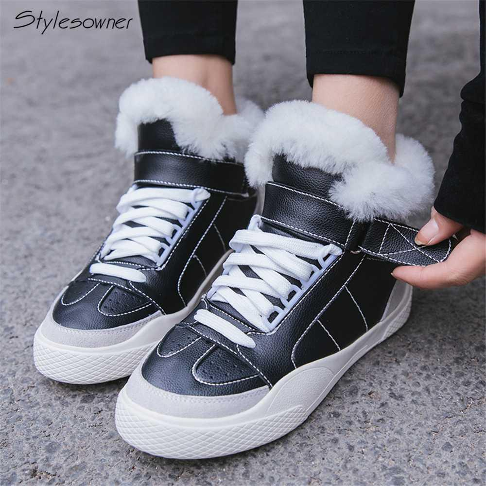 8c490aec21 Stylesowner Women Fur Winter Sneaker Boots Plush Warm Casual High Top Shoes  Lace Up Winter Fashion Sneaker Shoes Platform Wedges Combat Boots Rain Boots  ...