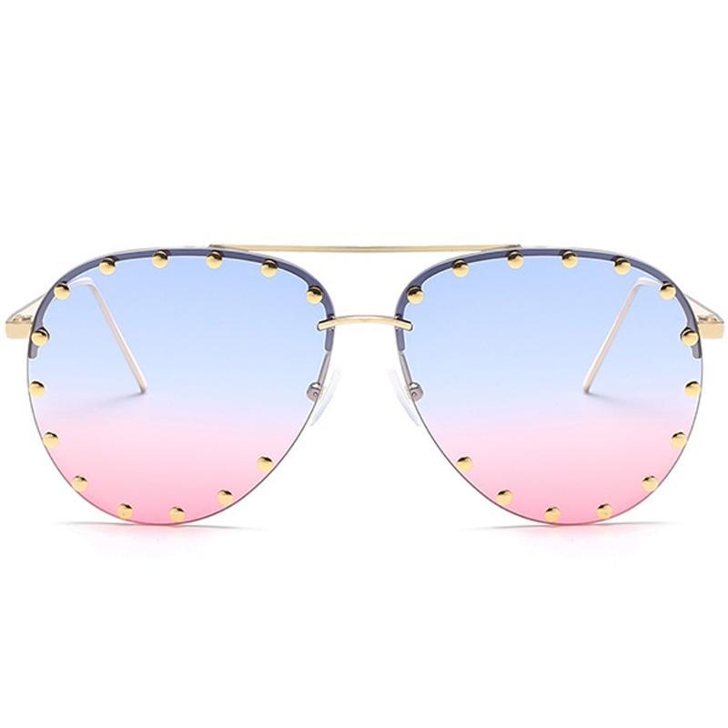 702303e002f Red Lens Pilot Sunglasses Women Men Goggle Rivet Transparent Brand Designer  Sun Glasses For Ladies Metal Frame Oculos Sports Sunglasses Cheap  Prescription ...