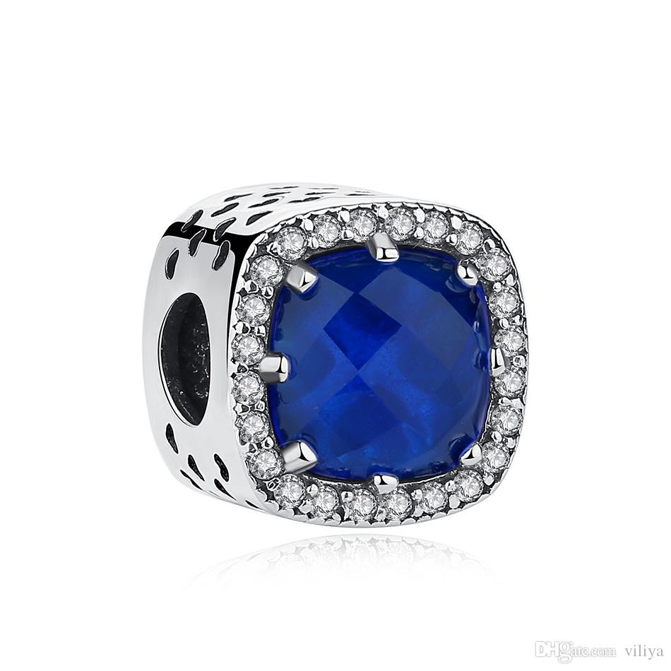 Blue Crystal Beads Clear Cubic Zirconia Charm Fit Pandora Charm ... 326239b1fcc2