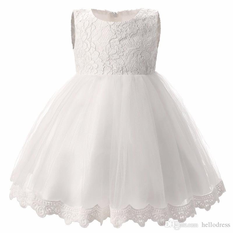 b4a31a3df95 Cute Sleeveless Round Neck White Pink Flower Girl Dresses Lace Top Trim A  Line Girls Short Formal Dresses With Bowknot Flower Girl Dress Tulle Flower  Girl ...