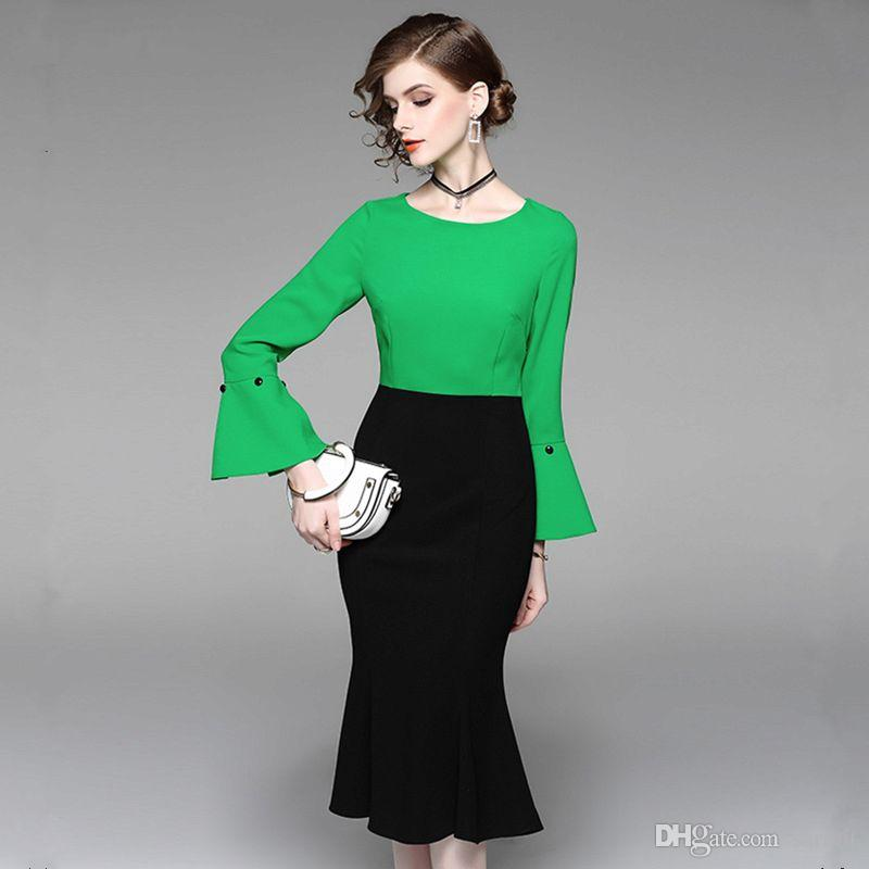 Retro Mermaid Dress Vintage 50s 60s Runway Dress 2018 CHEAPEST High Quality CAF473 Green Long Bell Sleeve Elegant Women Spring Dress