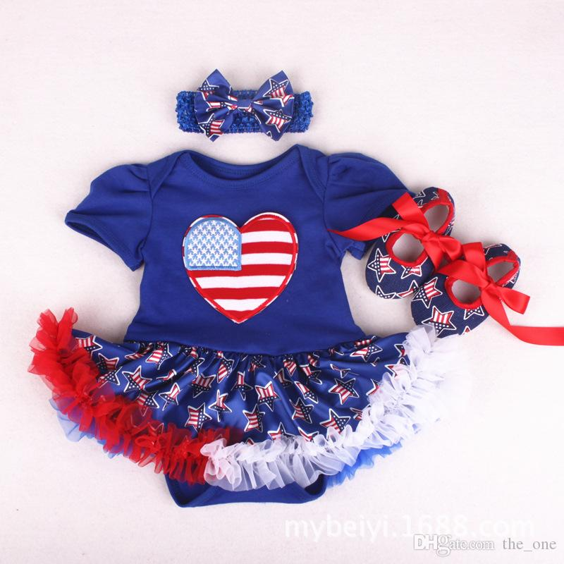 Baby Grils Cotton Yarn Tutu Dress Pagliaccetti Set 3 pezzi Set con pagliaccetti Fasce Scarpe American Independence Day Flags Red Blue Stars Dresse