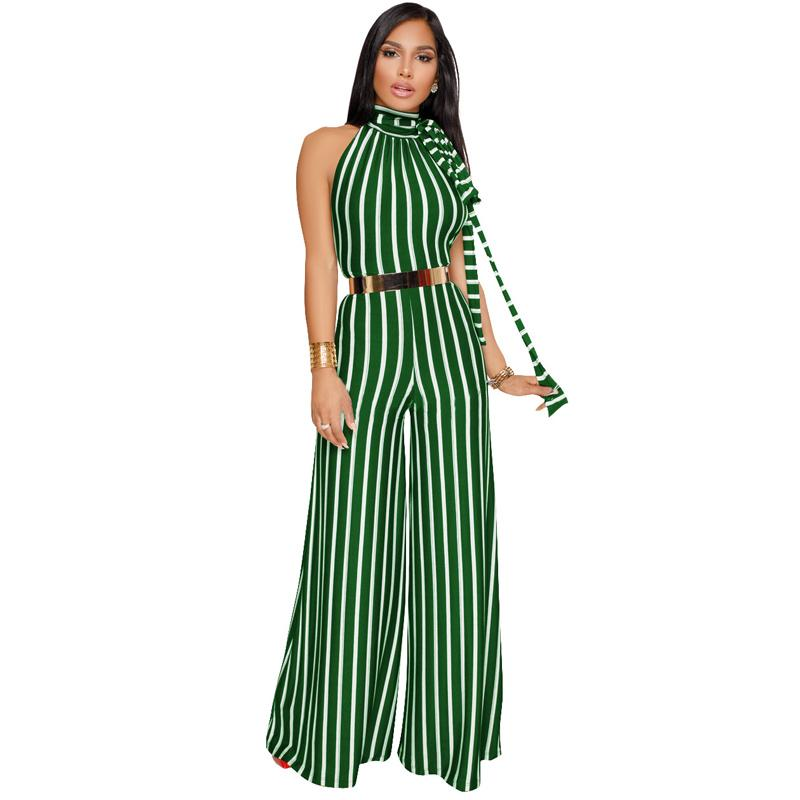 0f857af1805 2019 Summer Jumpsuit For Women 2018 Fashion Ladies Striped Bohemian Sexy  Backless Wide Leg Rompers Womens Jumpsuits Long Pants From Candd