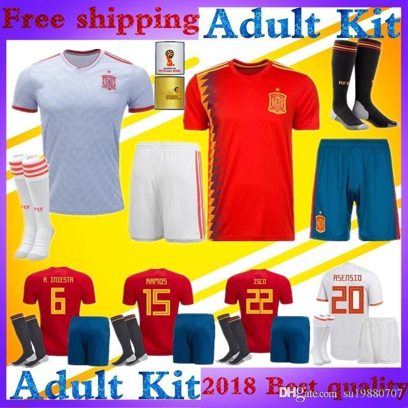 9b55d223288 2019 2018 World Cup ISCO Spain Soccer Jersey Adult Kit Home Red Away White  MORATA ASENSIO PIQUE MORATA SILVA RAMOS España Football Shirt Kits From ...