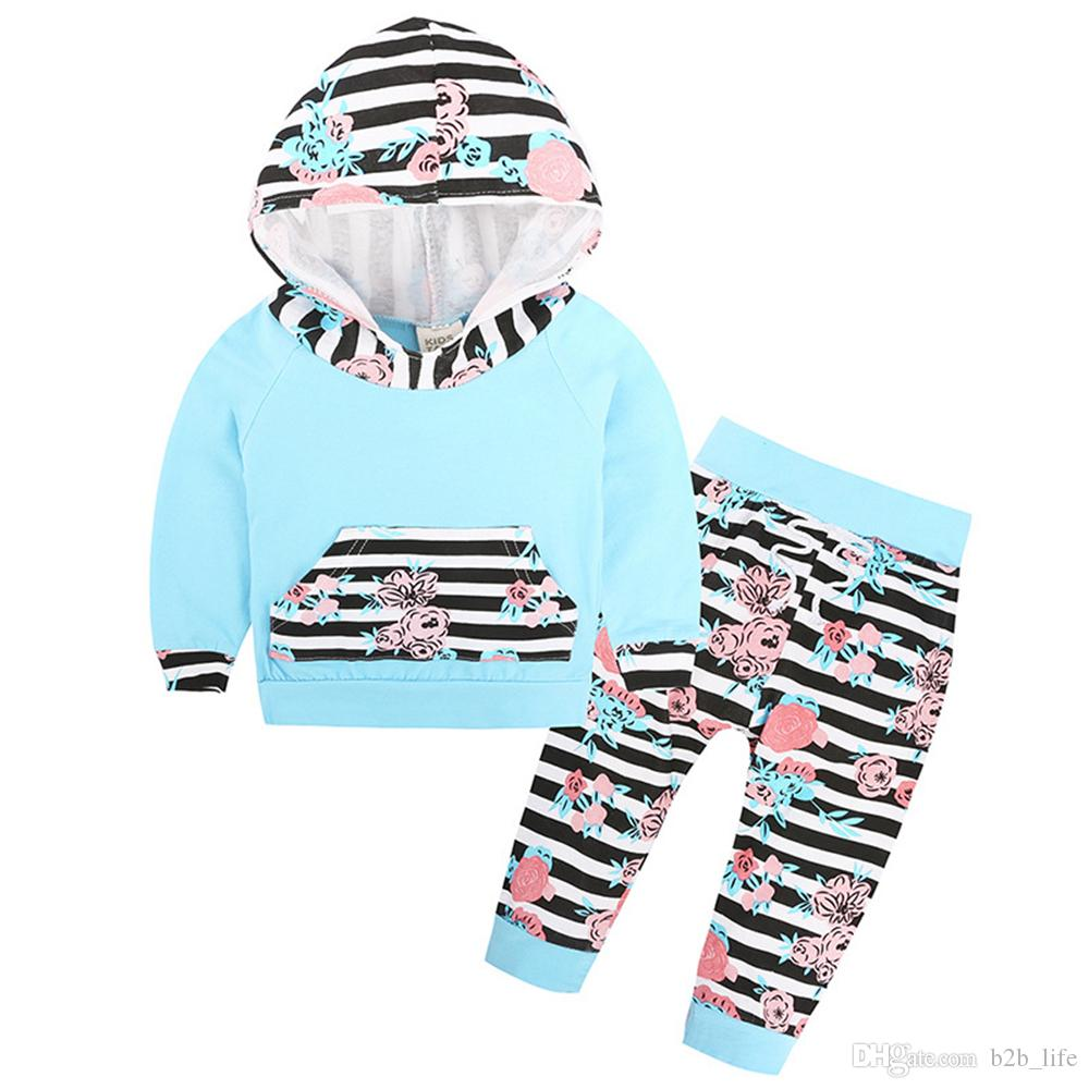 INS Kids Clothing Set Floral Striped Suit With Cap Outfits Baby Sets Long Sleeve Children Animal Hoodies Pants 40 Styles AAA125