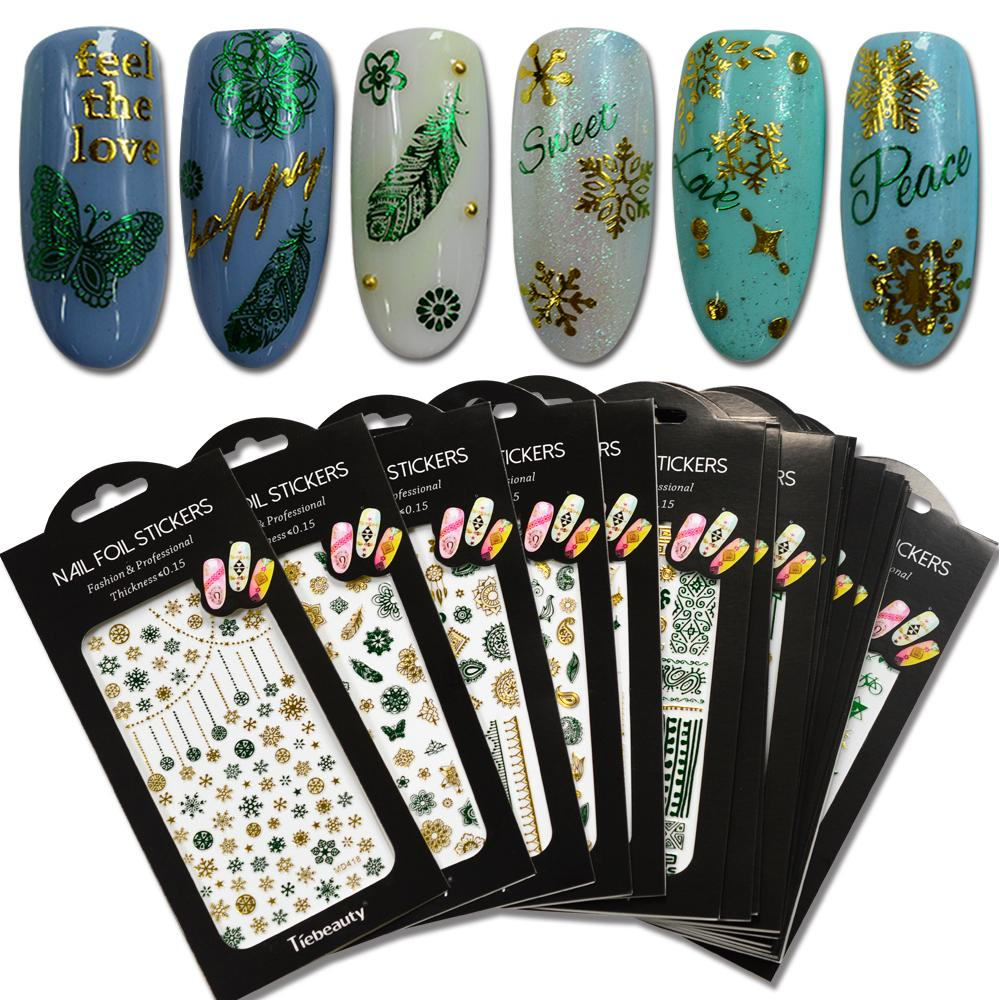 1 Sheet Nail Art Manicure Stickers Gold And Green Color Mixed Design ...