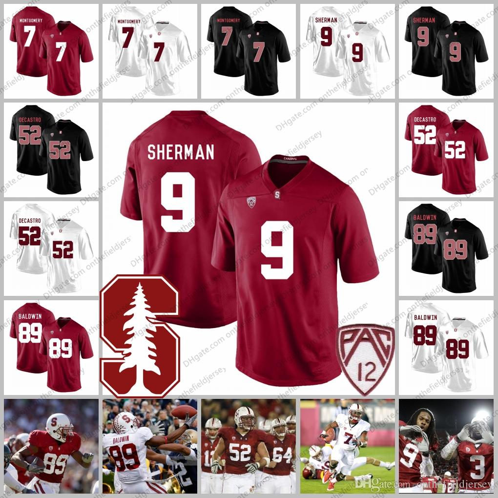ffafccc2d 2019 Stanford Cardinal  9 Richard Sherman 89 Doug Baldwin 52 David DeCastro  7 Ty Montgomery NCAA College Football Jerseys S 3XL From Onthefieldjersey