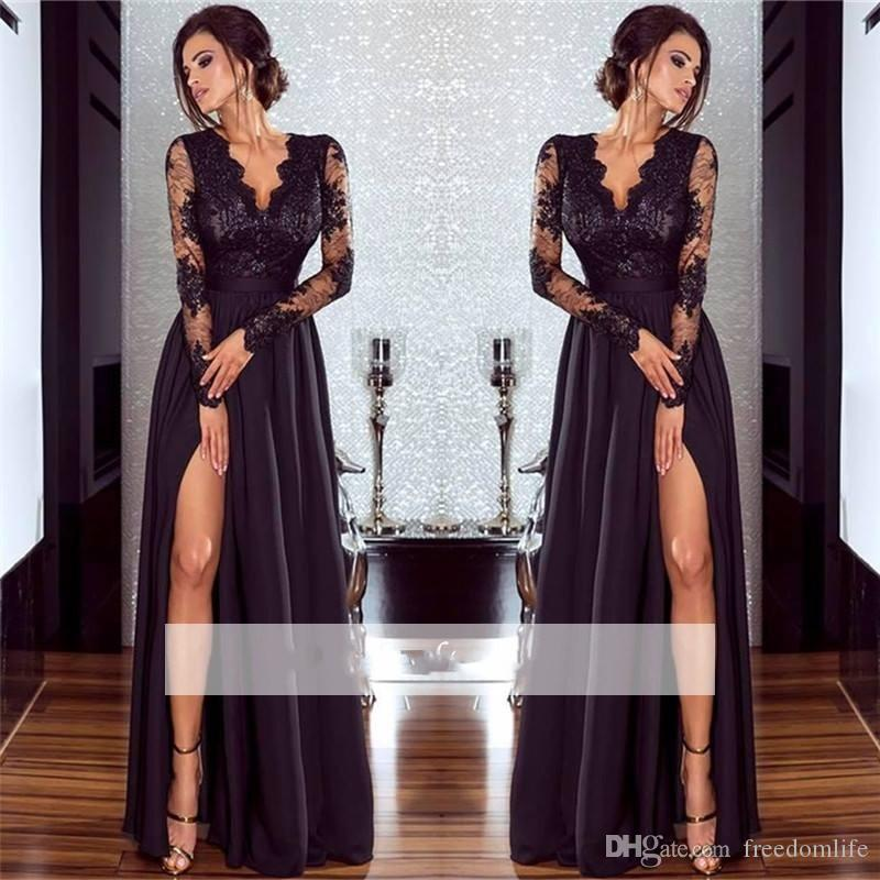 388c1345d4b Sexy Black Split Evening Dresses A Line Deep V Neck Long Sleeve Applique Prom  Dress Chiffon Lace Floor Length Party Gowns Betsy And Adam Prom Dresses ...