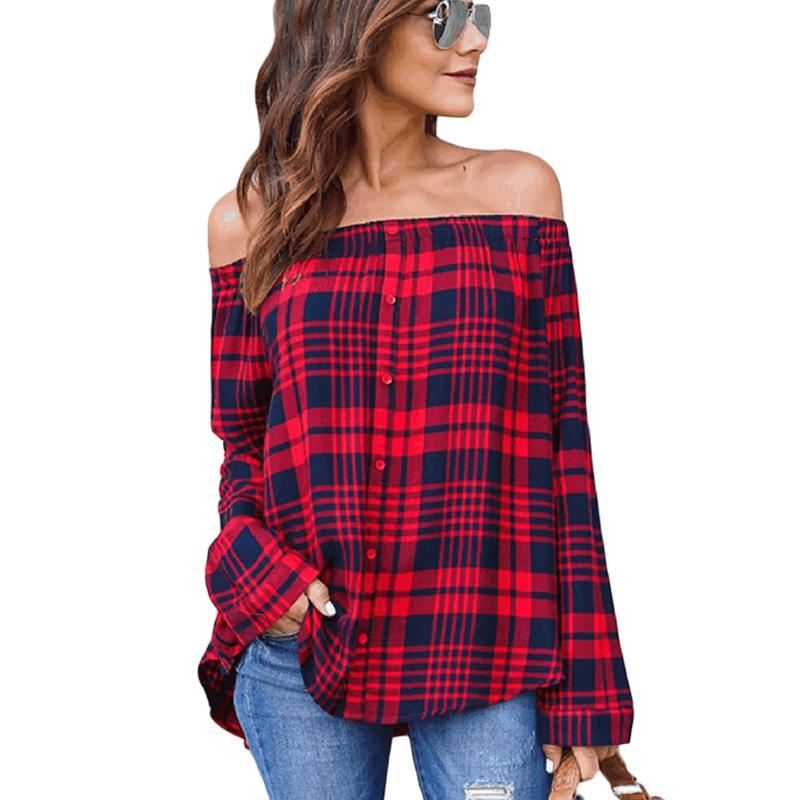 ce5a8047613 2019 New Plus Size Women Fashion Off Shoulder Strapless Striped Shirts 2018  Autumn Single Breasted Plaid Long Sleeved Sexy Blouses From Smotthwatch, ...