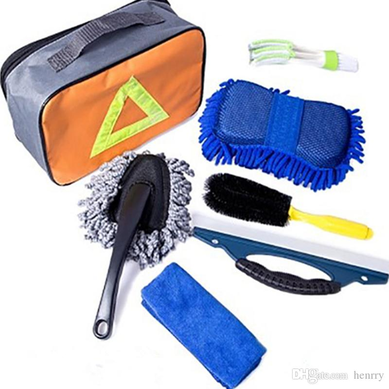 Car Wash Cleaning Kit Set 7PCS Tire Brush Air Outlet Cleaning Brush Wiping Block Small Wax Mop Towel Car Washing Tool Kit