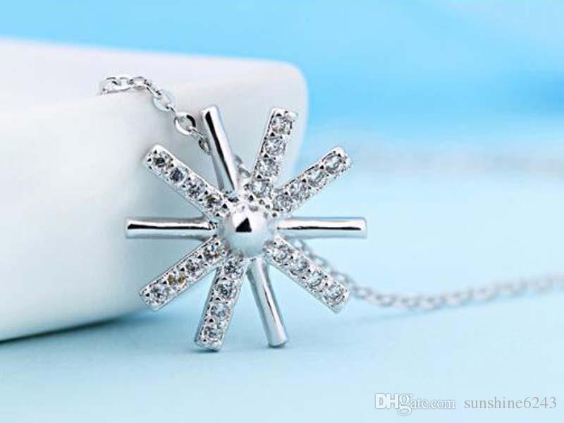 Alliage plaqué 925 Sterling Silver Pendentifs Japon et Corée du Sud Simple personnalité Tempérament Wild Fresh Sun Collier de fleurs