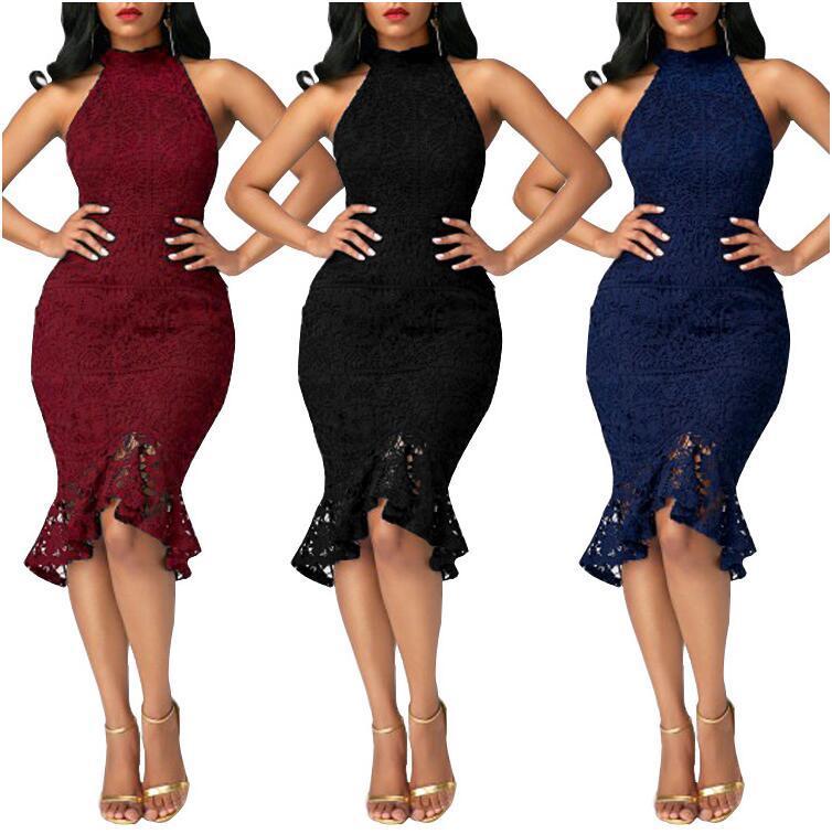 c31304fabbe Yeni Moda Kadın Giyim Büyük Beden Elbise Kolsuz Zarif Mizaç Kadınlar Akşam  Elbise Seksi Dantel Ince Mermaid Örgün Elbise