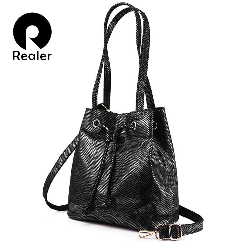 74681a828ecd REALER brand fashion women genuine leather handbags large capacity draw  string bucket bags female serpentine print shoulder bag