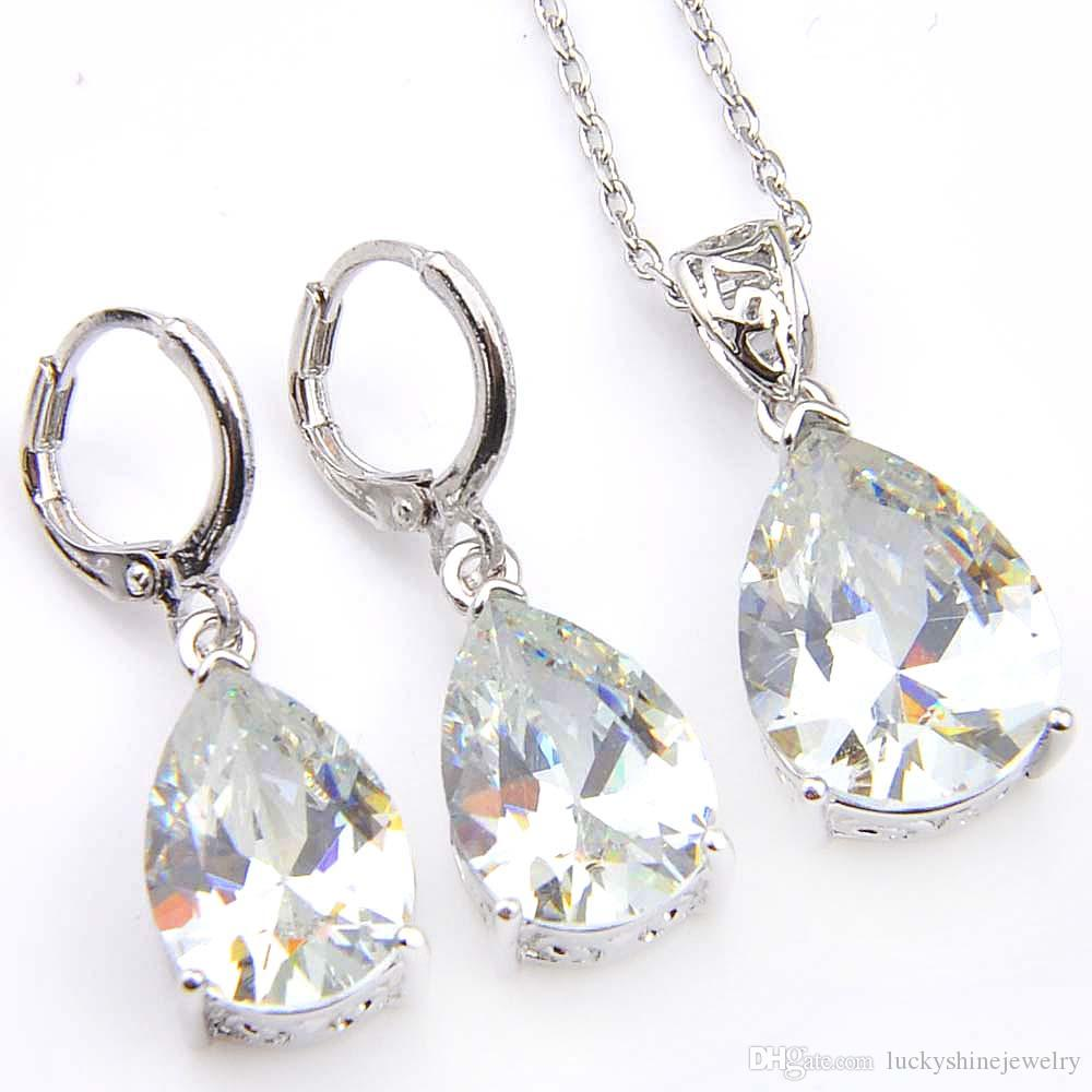 Luckyshine 5 Sets Women Fashion Earring Pendants Sets White Topaz Crystal CZ 925 Silver Necklaces Pendants Earrings Wedding Jewelry Sets