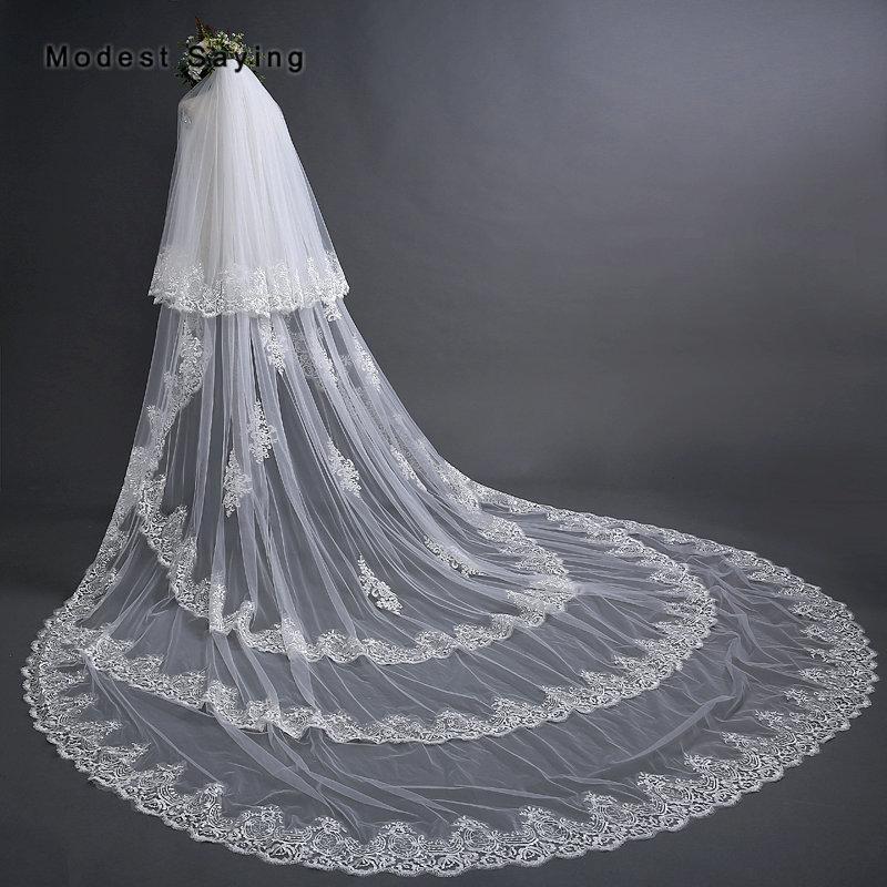 d61cff9632 Elegant Ivory 3M 2 Layers Cathedral Lace Wedding Veils 2018 With Comb Royal  Church Bridal Veil Velos De Novia Largos Encajes Mantilla Wedding Veil  Short ...