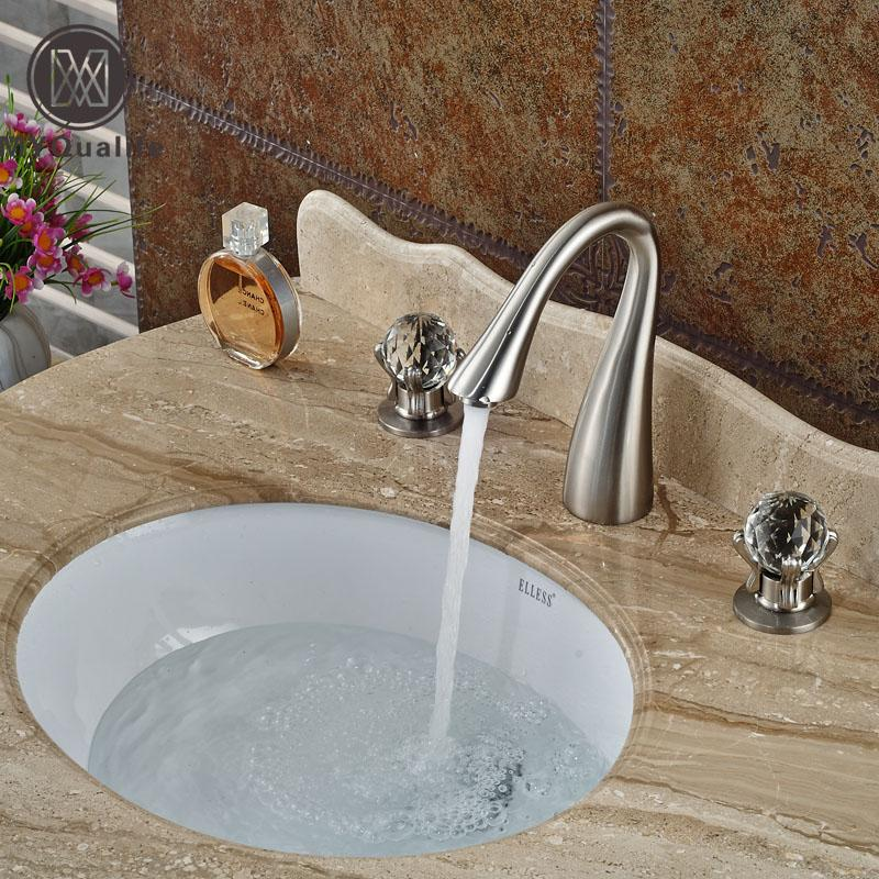Online Cheap Brushed Nickel Dual Cristal Handles Basin Sink Faucet ...