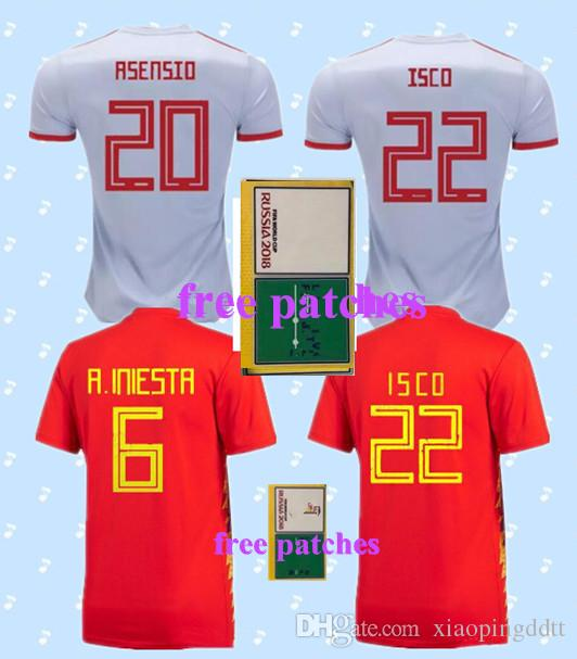 3526c25cc 2019 18 19 Spain Home Away Soccer Jersey Free Patches 2018 World Cup Spain  Soccer Shirt ASENSIO MORATA ISCO A.INIESTA Football Uniforms Sales.