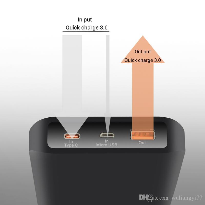 Nova Qualidade Superior de Carga Rápida 3.0 Tipo C 12500 mAh Capacidade da Bateria de Saída 5 V 2A Dual USB Power Bank