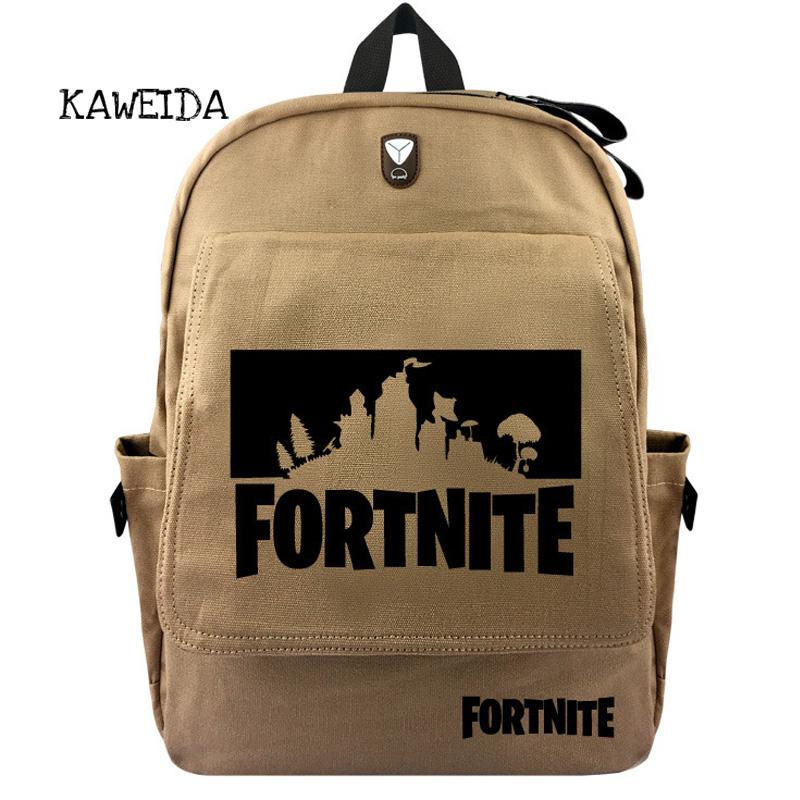 8b65424c916f4 Cool Canvas Fortnite Backpack School Bags Bookbag Shoulder Casual ...
