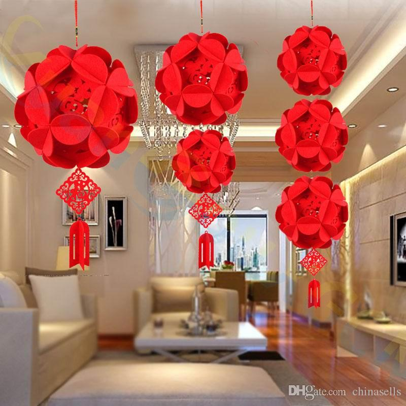DIY Non-woven Chinese New Year festival Hydrangea lantern Pendant room bar hotel party decorations wedding flower ornament