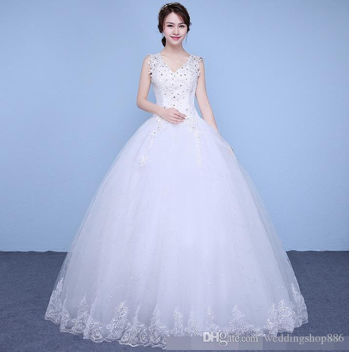 Korean Lace Up Ball Gown Quality Wedding Dresses Sequined 2018 Alibaba Customized Plus Size Bridal Dress Real Photo Cheap Online