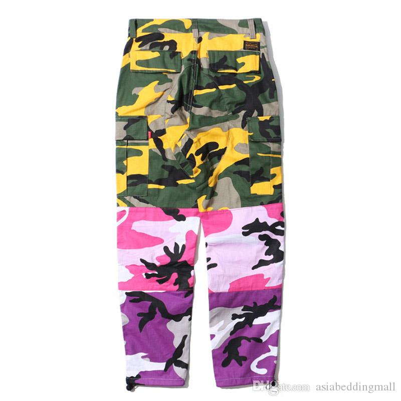 ca4b1f5c07f 2019 Tri Color Camo Patchwork Cargo Pants Men Baggy Tactical Trousers Hip  Hop Casual Multi Pocket Pant Camouflage Streetwear 2018 New From  Asiabeddingmall