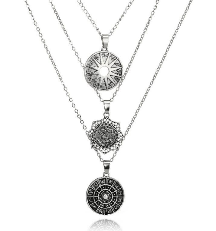 Nuevo 3d lotus signos del zodíaco colgante de metal collares de múltiples capas 2018 moda vintage collar de bohemia retro joyería de lujo de marca