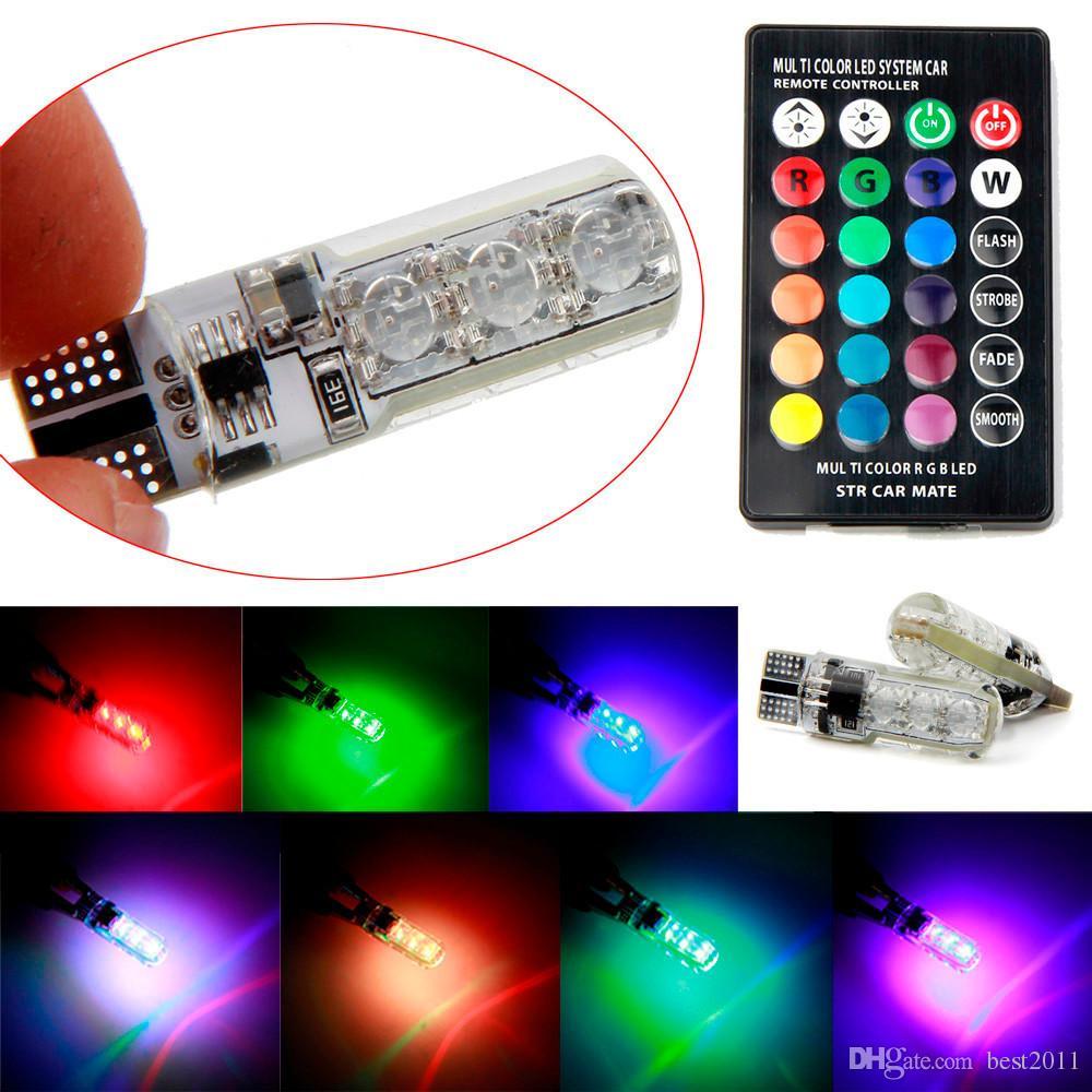 T10 W5W LED 자동차 조명 LED 전구 RGB 원격 제어 194 168 501 스트로브 LED 램프 읽기 조명 화이트 레드 앰버 12V