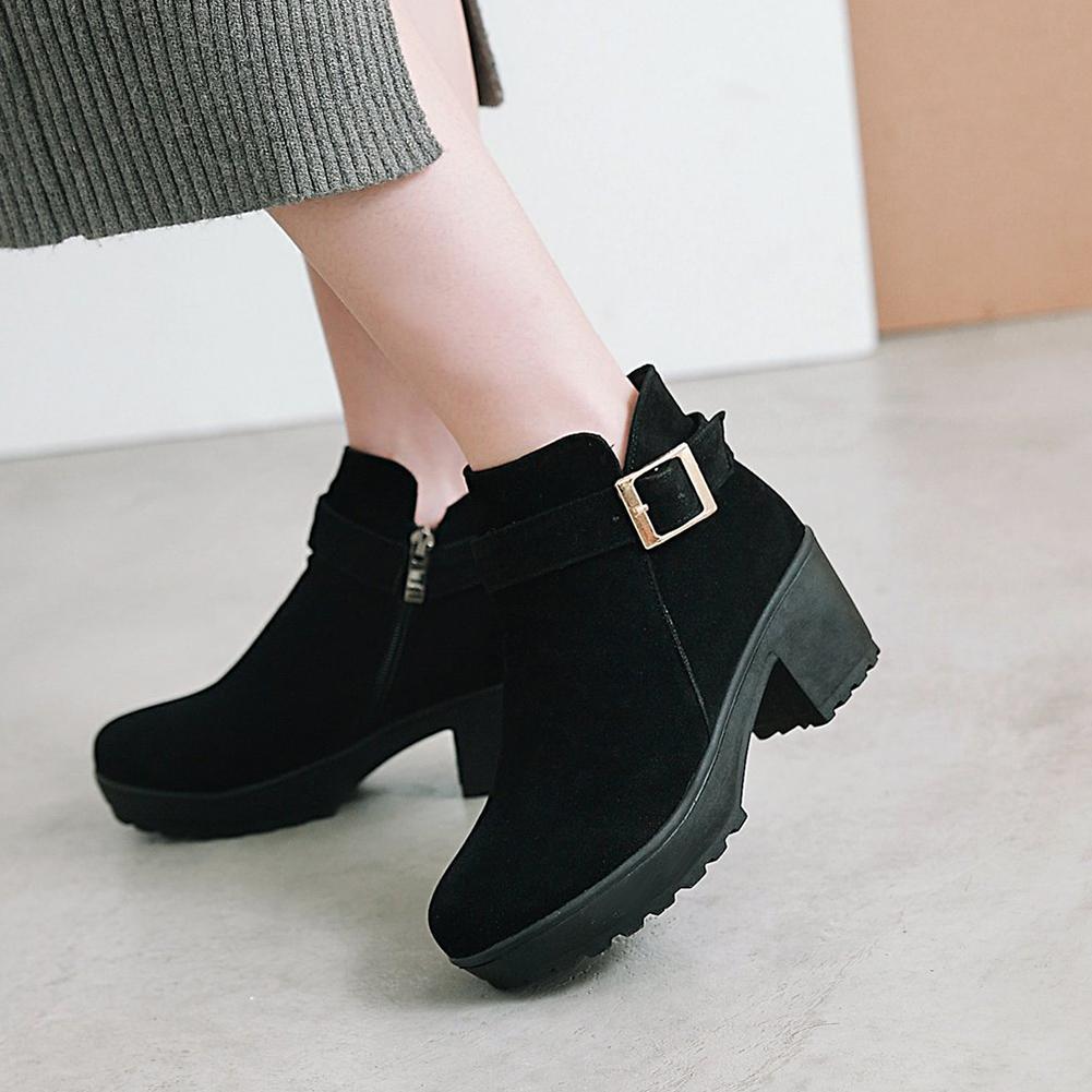 e80a781ed6 Compre LAPOLAKA 2018 Dropship Plus Size 33 48 Chunky Saltos Ankle Boots Mulheres  Sapatos Mulher Adicionar Plush Inverno Botas Sapatos Mulher De Vibey