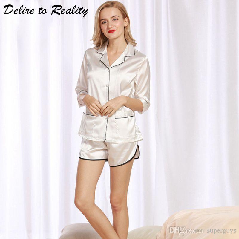 2019 Ladies Pajamas Sets Of T Shirts   Shorts Satin Pyjama Summer Sleepwear  Faux Silk Nightwear Women Pijamas De Las Mujeres TZ319 From Superguys 7af25595d