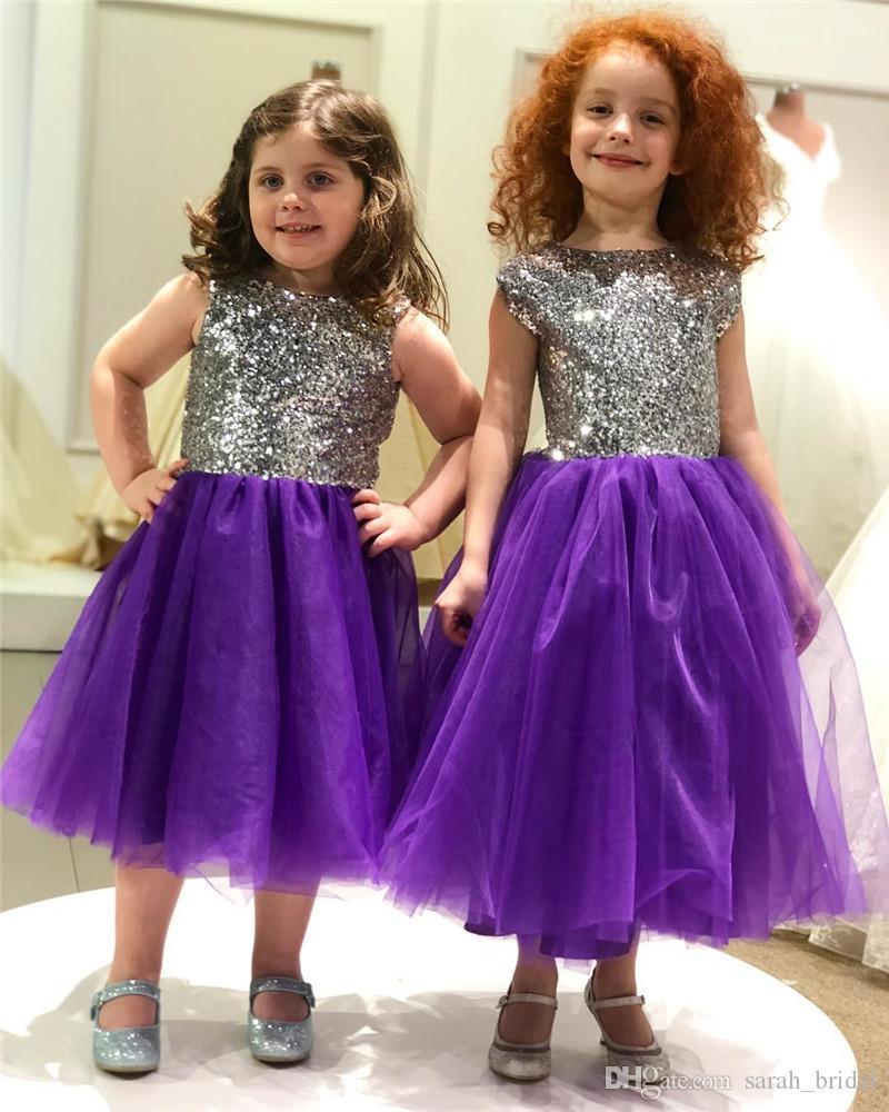 Compre Encantadora Lentejuelas De Plata Purple Flower Girls Vestidos ...