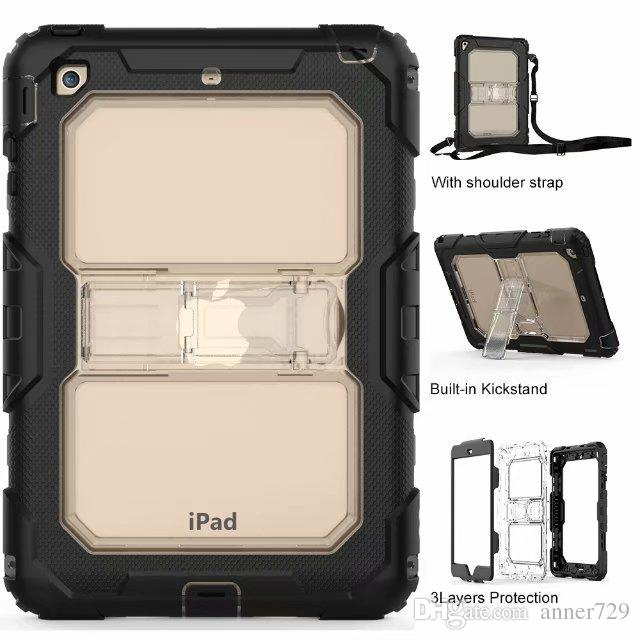 حافظة صلبة لجهاز iPad Mini 1 2 3 4 Air Pro 9.7 10.5 New iPad 2017 2018 غطاء صلب متين بتصميم Hybrid Armor سيليكون PC Defender Shell