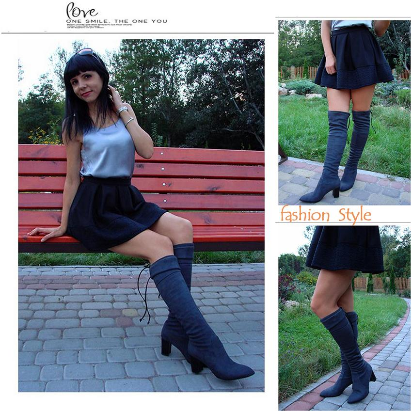 ESVEVA 2018 Western Style Flock Women Boots Over The Knee Boots Winter Square High Heel Ladies Lace Up Fashion Boots Size 34-43
