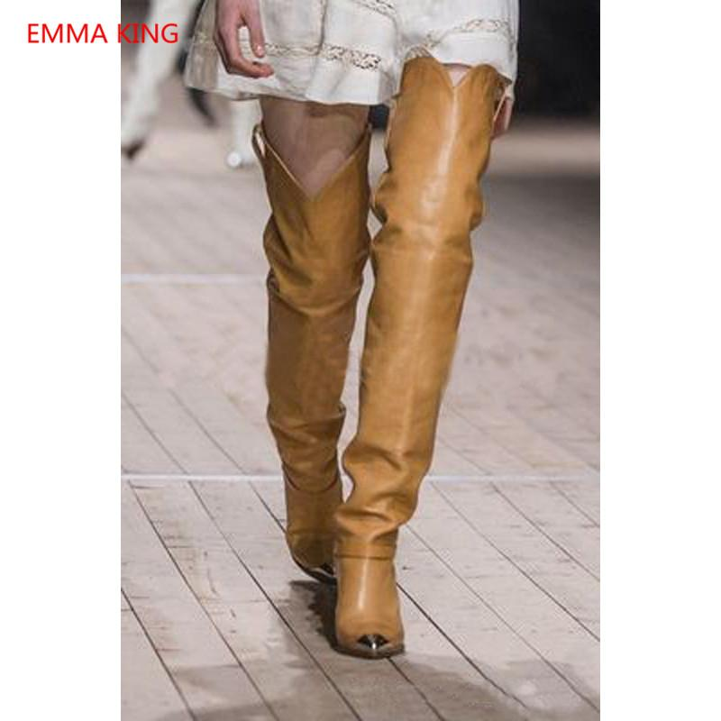 6e40a2bedbb 2018 New Winter Leather Over Knee Boots Woman Metal Pointed Toe Thigh High  Boots Fashion Ladies Shoes Design Spike High Heels Wedge Boots Waterproof  Boots ...