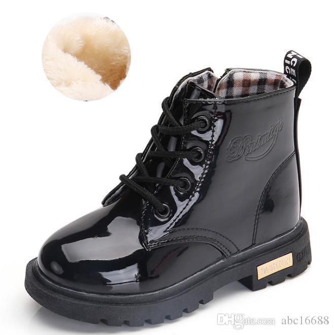 b338553f707033 Acheter Bottes Pour Filles Garçons En Cuir PU À Lacets Hautes Pour Enfants  Sneakers Fille Bébé Sport Automne Hiver Enfants Chaussures De $42.62 Du  Abc16688 ...