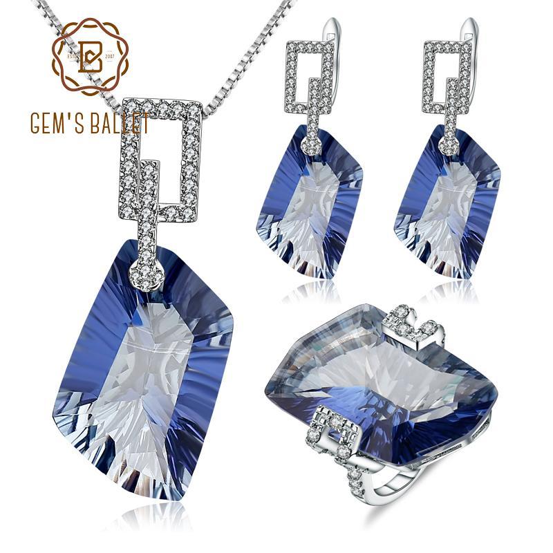 Schmucksets Gems Ballett Iolite Blau Mystic Quarz Schmuck Set Solide 925 Sterling Silber Ohrringe Ring Anhänger Set Für Frauen Edlen Schmuck