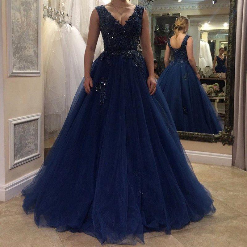 Marineblau Ausschnitt Vestidos Tüll Ballkleid Sexy Fiesta Lange Bodenlangen De Abendkleid Abendkleider Kleid V 8vnwmN0