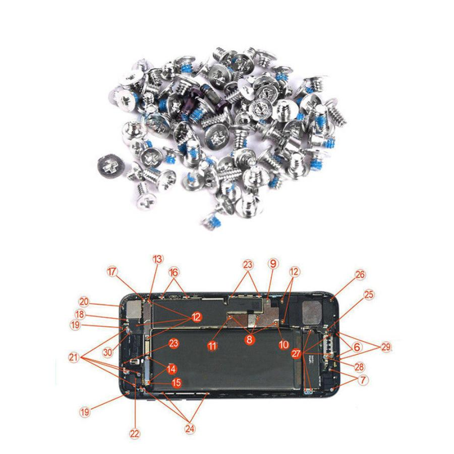For iPhone 4 4S 5 5S 6 7 8 Plus X Complete Full Set Screws Kit + Bottom Screw Repair Replacement Parts