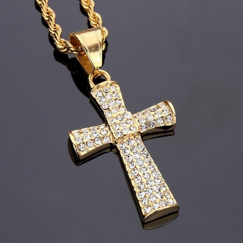 Wholesale 2018 Stainless Steel Rhinestone Crystal Cross Pendant