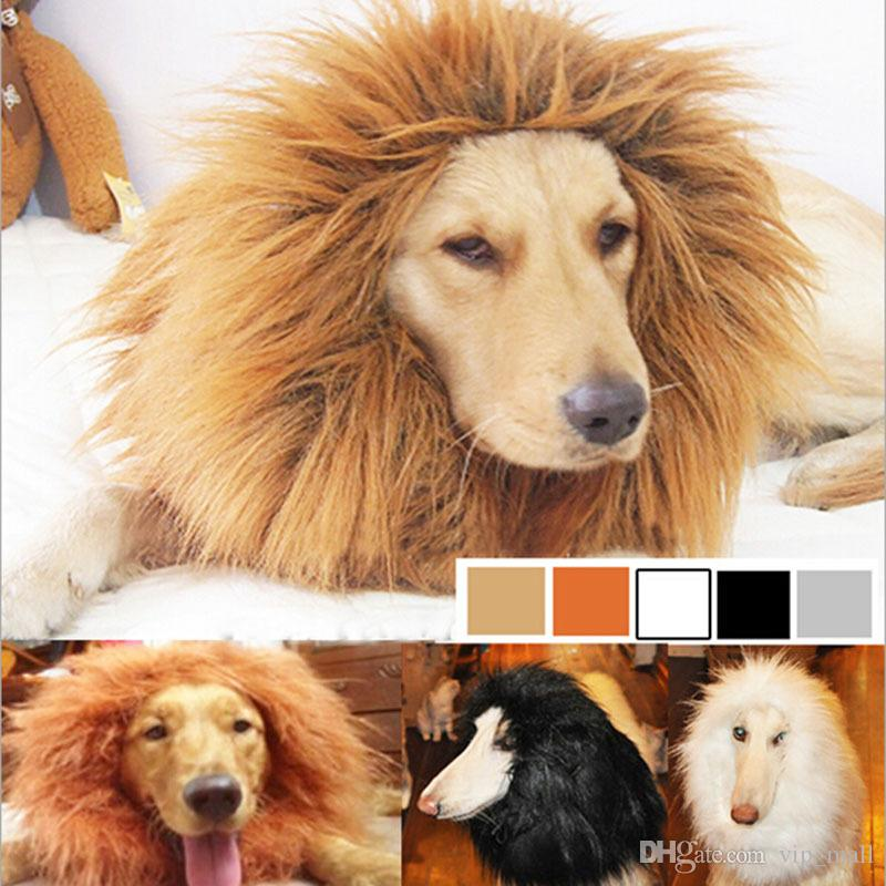 Hair Ornaments Pet Costume Cat Halloween Clothes Fancy Dress Up Lion Mane Wig for Large Dogs brown,dark brown,white,black B