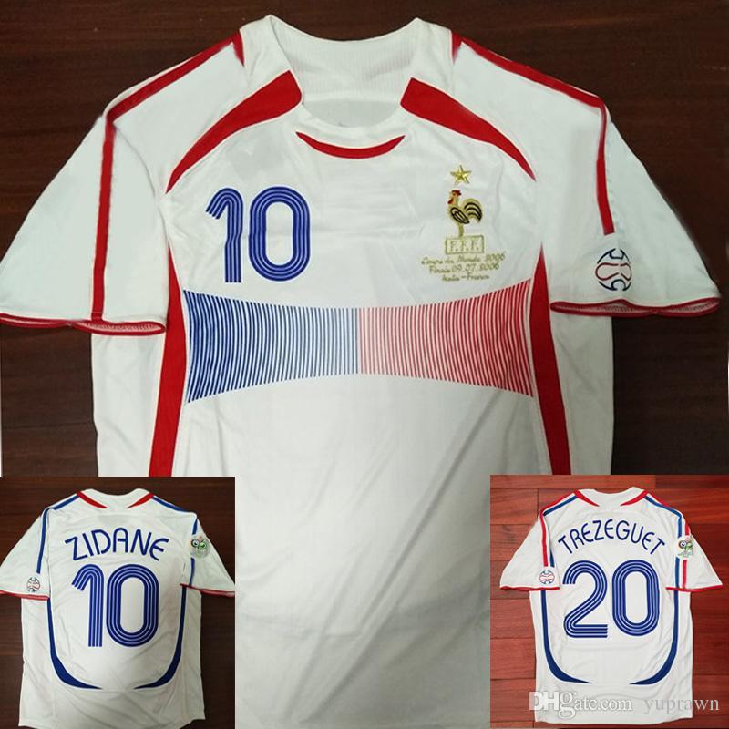 Compre Camisa De Futebol Da França Copa Do Mundo De 2006 ZIDANE Henry  Trezeguet Vieira Ribery France Soccer Jersey Retro Camisa De Futebol 06  Vintage ... bc2423b41c7ae