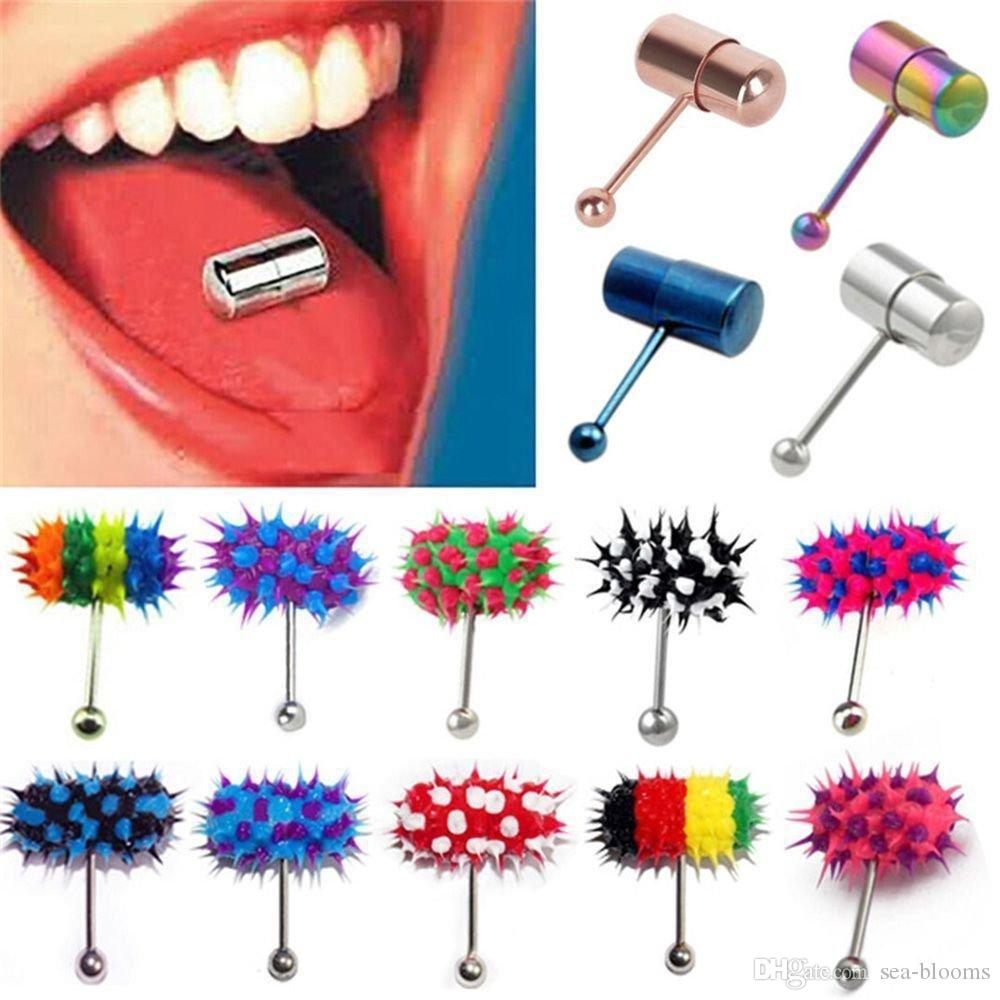 Rainbow Tongue Ring Vibrating Tongue Piercing 316l Steel Tongue Barbell With Free Battery 23 Style Support Fba Drop Shipping G611s