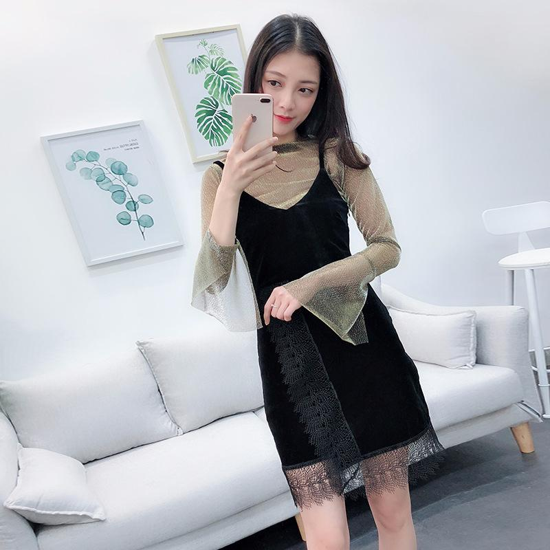 Women Lace Dress Suits 2018 New Women Spring Long Lace Dress