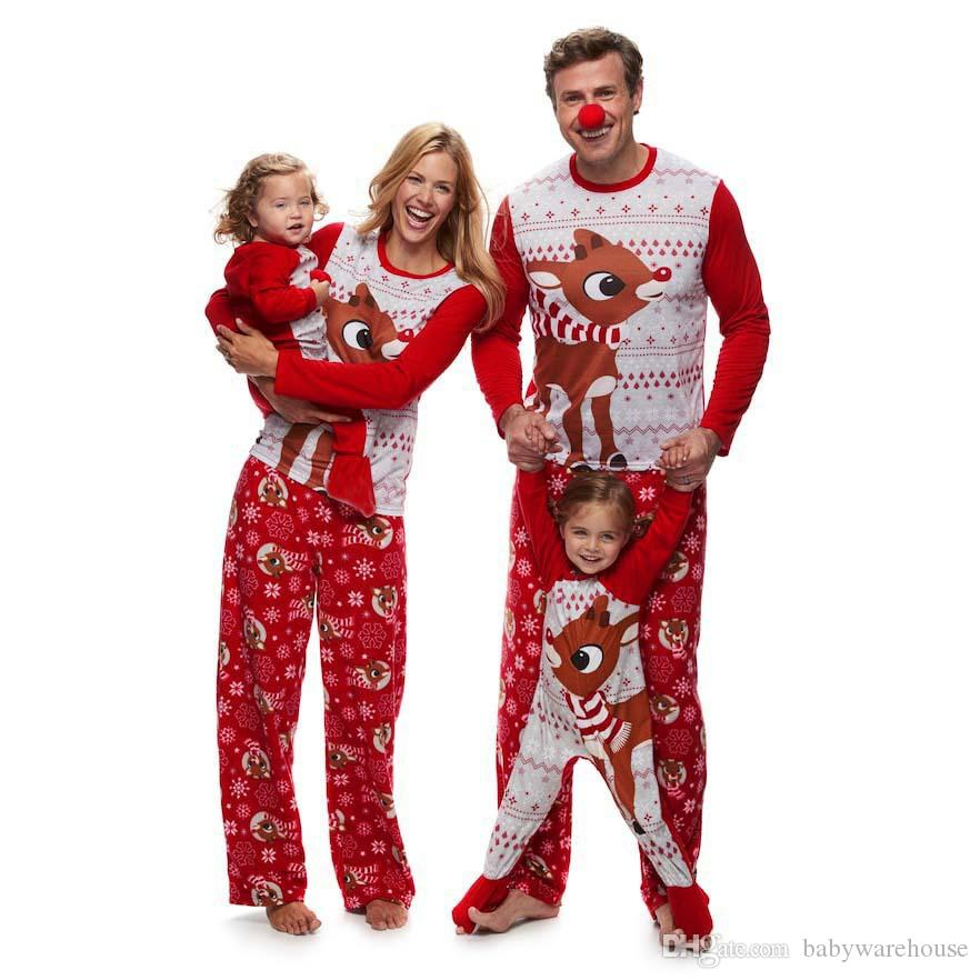 Family Christmas Pajamas Sets Newest Father Mother Daughter Son Papa Mama  Deer Outfits Family Matching Clothes Pajamas Outfits Sleepwear Family Photo  ... a089bd706
