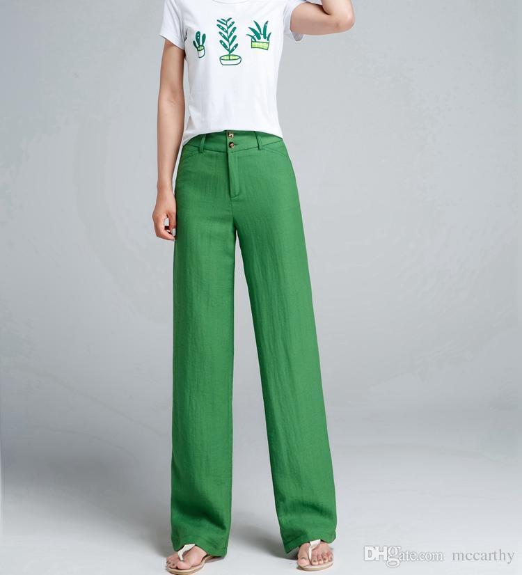5b22251ec379 Mezcla de lino pantalones rectos mujeres de longitud completa otoño  primavera nueva moda gris beige verde negro rojo más el tamaño pantalones  ...