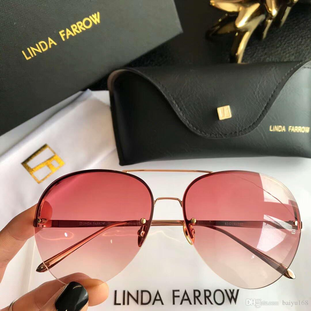 5a63d718886 Linda Farrow LFL574 Titanium Pilot Sunglasses Sonnenbrille Gold Pink Shade  Designer Sunglasses Brand New In Box Prescription Sunglasses Glasses Frames  From ...