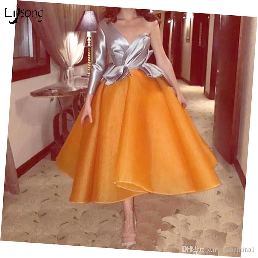 bbc901bfc37 Two Toned Women Party Wear Prom Ball Gowns Midi Length Puffy Petticoat Prom  Party Vestido De Festa Color Select One Shoulder Mid Dresses Affordable Prom  ...