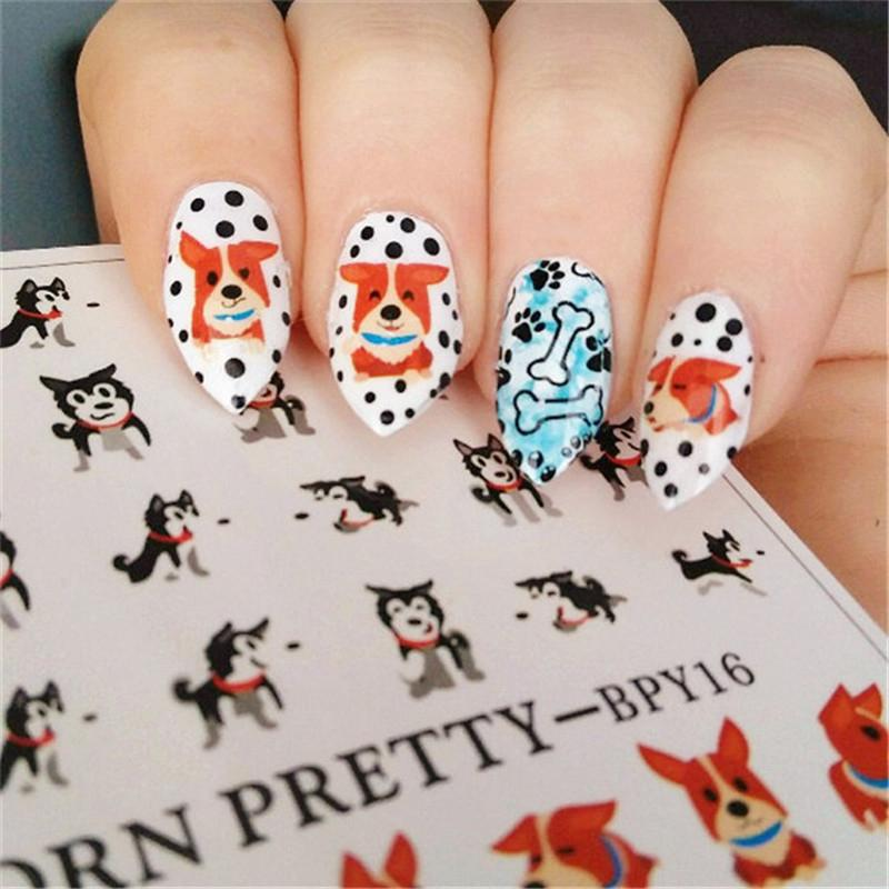 2 Patternssheet Born Pretty Cute Dog Nail Art Water Decals Transfer